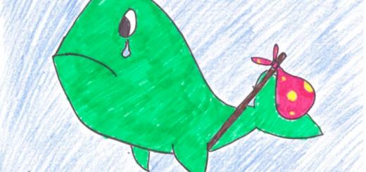 A sad whale with a bag